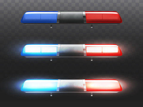 Vector 3d realistic red and blue led flasher for police car. Xenon signal of municipal service. Stages of siren with light and alert lamp. Transparent beacon for emergency isolated on dark background