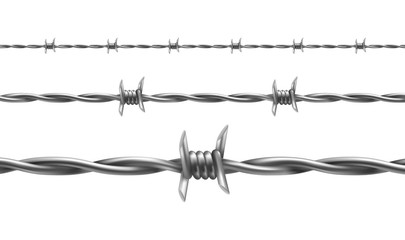 Barbed wire vector illustration, horizontal seamless pattern with twisted barbwire isolated on background. Metal protective barrier with sharp barbs for industrial and agricultural fencings