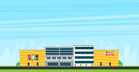 Supermarket building facade flat vector illustration.