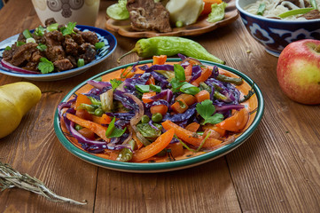 Mongolian veggies stir fry in spicy soy ginger sauce