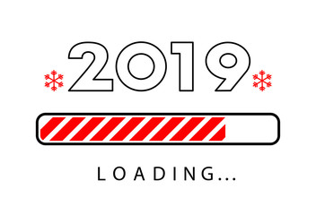 Loading 2019 New Year creative poster with progress bar.