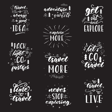 Lettering design with travel phrases. Vector illustration
