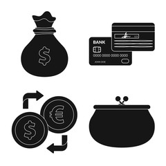 Vector design of bank and money sign. Set of bank and bill stock symbol for web.