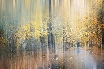 Background autumn rain in the park