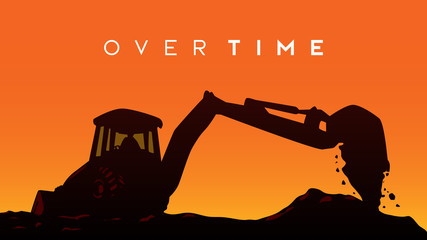 over time on site worker work exavator sillhouette sunset vector illustration