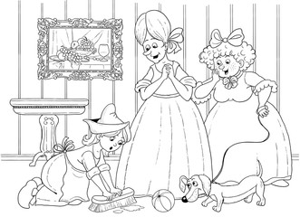 Cinderella. Fairy tale. Coloring page. Coloring book. Illustration for children. Cute and funny cartoon characters