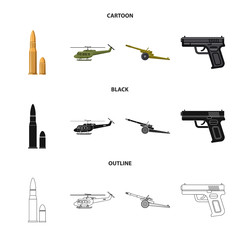 Vector illustration of weapon and gun sign. Set of weapon and army vector icon for stock.