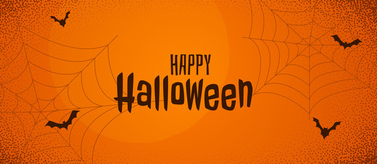 scary halloween orange banner with spider web and flying bats