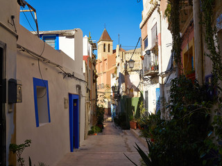 Traditional classical houses the old town of Alicante Spain
