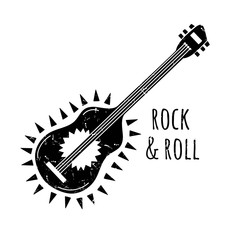 Vector illustration of Rock and Roll. Guitar. Music logo.
