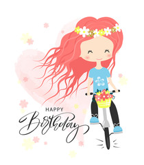 Birthday greeting card and party invitation templates. Cute little girl with bunch of flowers riding a bike.Vector illustration
