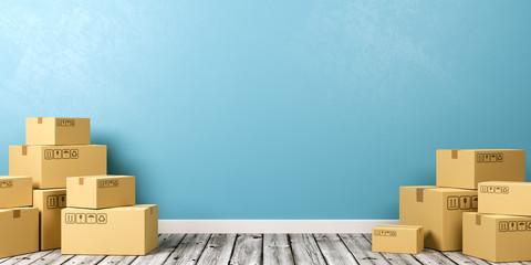 Cardboard Boxes on Wooden Floor