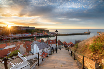 Wall Mural - Sunset over Whitby in Yorkshire