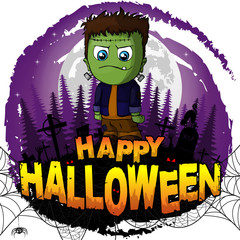 Happy Halloween Design template with Frankenstein. Vector illustration.