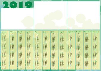 green blubbles photo calendar 2019
