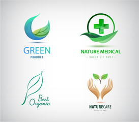 Vector set of leaves logos. Natural cosmetics, medicine, eco, organic icons. Green cross and leaf, circle, hand holding plant