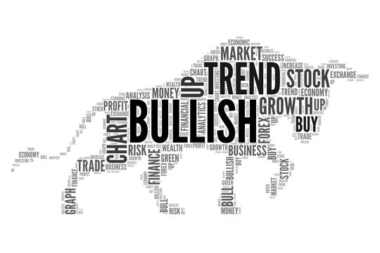 Stock market words to be bull symbol as a Bullish trend