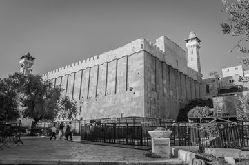 HEBRON, ISRAEL / PALESTINE. September 25, 2018. The black and white exterior view of the Cave of the Patriarchs complex where the Forefathers of the Jewish people and Islam are believed to be buried.