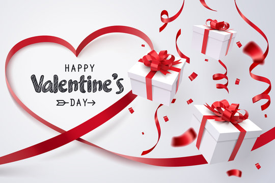 Falling gift box, Valentine's day celebrate