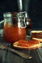 Strawberry jam with slice of bread