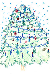 Christmas tree card. colorful drawing: Christmas tree, illustration of a greeting Christmas tree color poster, Children's drawing.