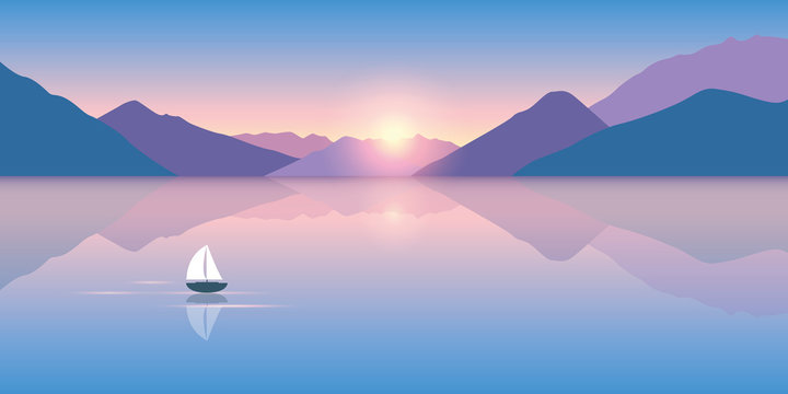 lonely sailboat on a calm sea with a beautiful mountain view at