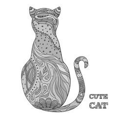 Cat on white. Zentangle. Hand drawn cat with intricate patterns on isolated background. Design for spiritual relaxation for adults. Zen art. Doodle for banners, posters, t-shirts and textiles