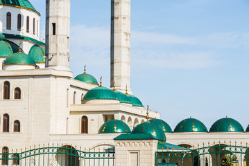 The cathedral mosque at sunny day in Cherkessk, Karachay-Cherkessia, Russia. details of the architectural ensemble.