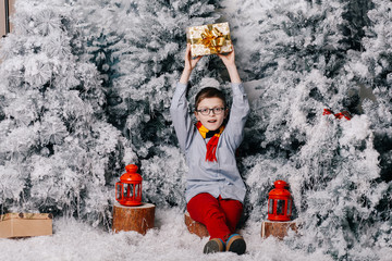 A boy sits on a stump in red pants and holds a Christmas present