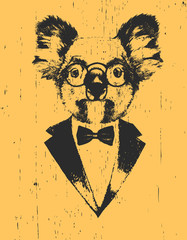 Portrait of Koala in suit, hand-drawn illustration, vector