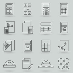 Simple Set of Calculation Related Vector Line Icons. Thin line vector icons for website design and development, app development