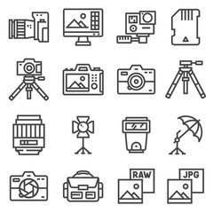 Vector line Photography, equipment, post-production, printing icons set