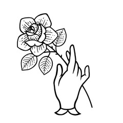 Rose tattoo with hand Isolated vector illustration.