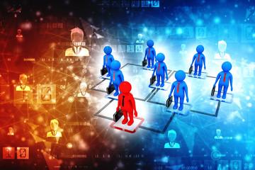 Business Network Concept, Leader, Leadership Concept, Business Communication. 3d rendering