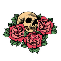 Rose tattoo with skull. Roses isolated vector illustration.