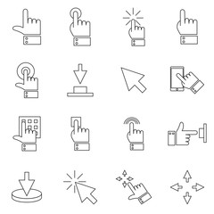 Click Set of Buttons related Vector Icons. Contains such Icons as Cursor, Mouse, Hand, Index Finger, Arrow and more. Flat vector illustration.