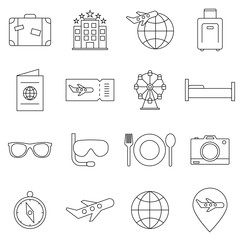 Travel related vector icon set. Well-crafted sign in thin line style. Vector symbols isolated on a white background. Simple pictograms.
