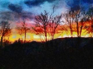 Oil painting. Art print for wall decor. Acrylic artwork. Big size poster. Watercolor drawing. Modern style fine art. Beautiful evening landscape. Wonderul burn orange sunset.