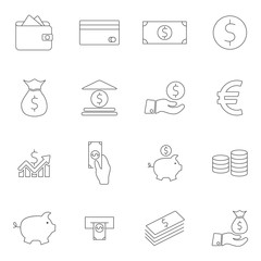 Simple Set of Money Related Vector Line Icons. Contains such Icons as Wallet, ATM, Bundle of Money, Hand with a Coin and more. Outline web icon set