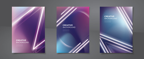Set of abstract creative design cyberpunk neon color backgrounds