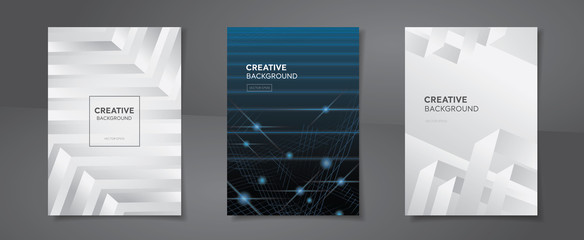 Set of abstract creative design A4 annual report cover backgrounds