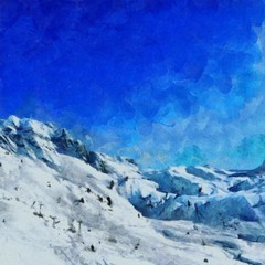 Oil painting. Art print for wall decor. Acrylic artwork. Big size poster. Watercolor drawing. Modern style fine art. Beautiful winter mountain landscape.