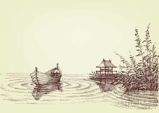 Lake drawing, empty boat on water ripples, cattail and fishery on shore