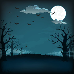 Spooky night background with full moon, clouds, bats, bare trees silhouettes and dark blue sky.
