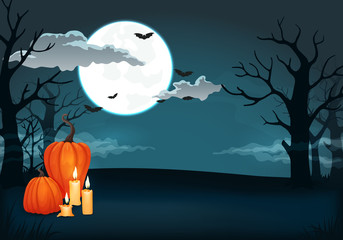 Spooky night background with full moon, clouds, bats, pumpkins, candles and bare trees silhouettes.