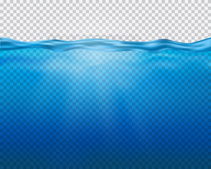 Vector blue underwater view with sun rays and waves isolated on transparent background