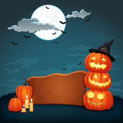 Wooden signboard with candles and glowing halloween pumpkins with witch hat. Night scene with dark blue sky, full moon, clouds and bats on the square background.