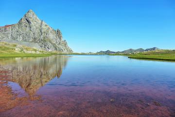 Anayet peak and Anayet lake in Spanish Pyrenees, Spain.