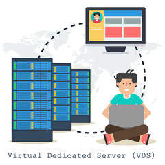 Vector concept Virtual Dedicated Server on white