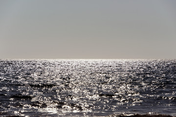 A horizon view of a seascape in sunset in Mediterranean in summer time